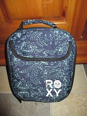 NWT ROXY Girls Navy Blue & Green Floral Insulated Lunch Box, Nice!!