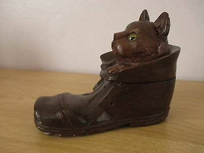 Antique Black Forest Carved Cat In Boot Inkwell Glass Eyes Swiss Wood Carving