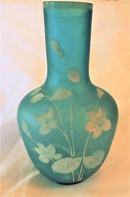 """Antique Satin Glass Azure Blue Art Vase Hand Painted  Floral 8"""" Tall"""