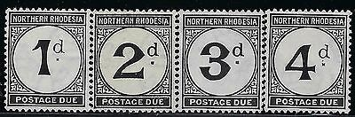 NORTHERN RHODESIA 1929 Postage Due Sct #J1-#J4 S/G #D1-#D4, M/H  Complete Set