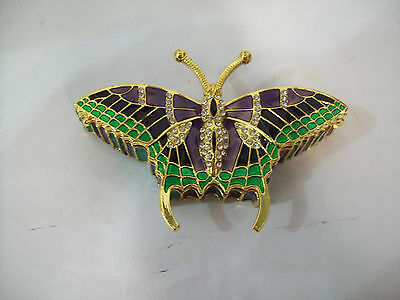 Jeweled Hinged Butterfly Trinket Box Jewelry Box with Crystals