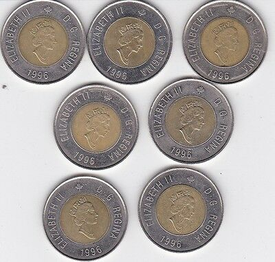 7 - 1996 Canadian $2 Dollar Coins Canada Toonie Lot