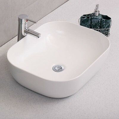 Modern Rectangle Bathroom Porcelain Vessel Vanity Sink White Ceramic Art  Basin