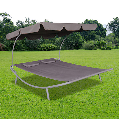 S# Outdoor Double Tanning Sun Bed Canopy Brown Garden Lounger Recliner Daybed