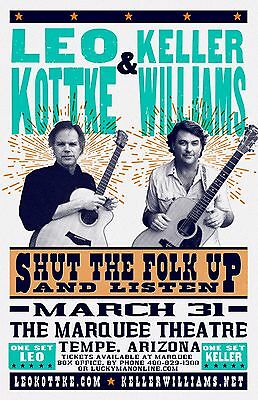 LEO KOTTKE & KELLER WILLIAMS 2017 PHOENIX CONCERT TOUR POSTER - Folk, Rock Music