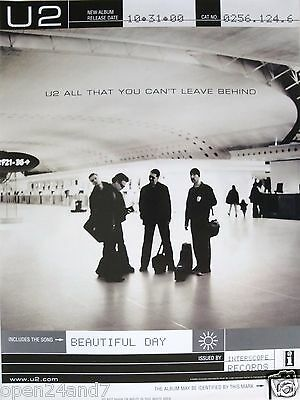 "U2 ""ALL THAT YOU CAN'T LEAVE BEHIND"" U.S. PROMO POSTER-Group Standing In Airport"