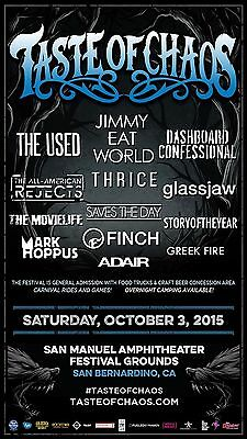 "Used / Jimmy Eat World ""taste Of Chaos"" 2015 San Bernardino Concert Tour Poster"