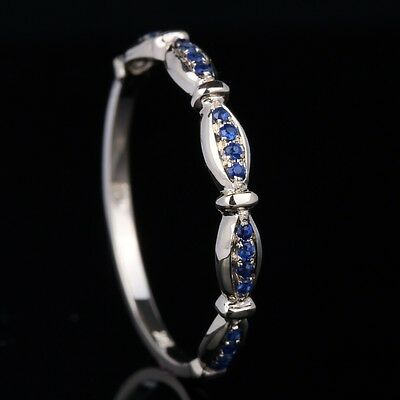 Pave.12CT Natural Sapphires Engagement Wedding Womens Band Ring 14K Yellow Gold