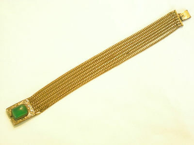 Signed Bracelet Brass Chains Late Art Deco Green Stone