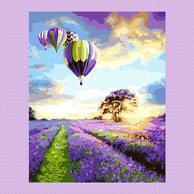 DIY Paint By Number Kits On Canvas Digital Oil Painting Lavenders Hot Balloon