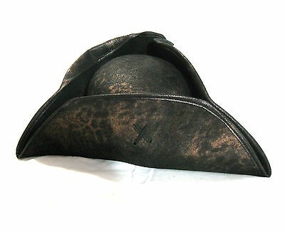 Pirate Hat Captain Scallywag Aged Faux Leather  Adult Halloween Costume Cap