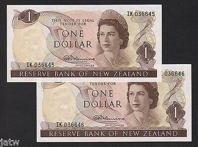 New Zealand  P-163a. (1967-68) One Dollar -Fleming. CONSECUTIVE  Pair..UNC