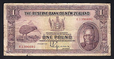 NEW ZEALAND P-155. (1934-40) 1 Pound - Lefeaux.. Prefix 6A..  aFine