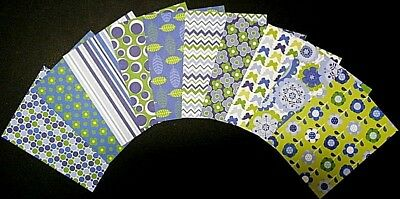 GREEN & BLUE PATTERNED PAPERS  x 10 Scrapbooking- Cardmaking - Papercrafts