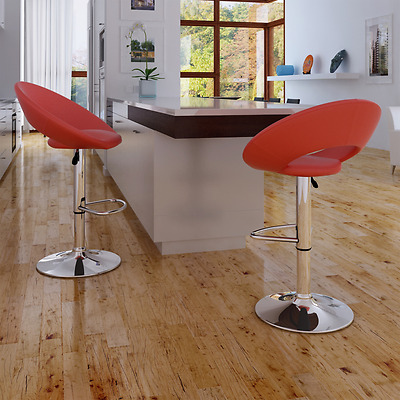 2x Leather Bar Stool Red Kitchen Dining Chair Gas Lift Steel Modern Adjustable