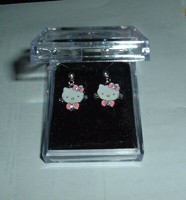 HELLO KITTY POST EARRINGS B NIB Cat Animation Cute Child Adult Crystals Sweet