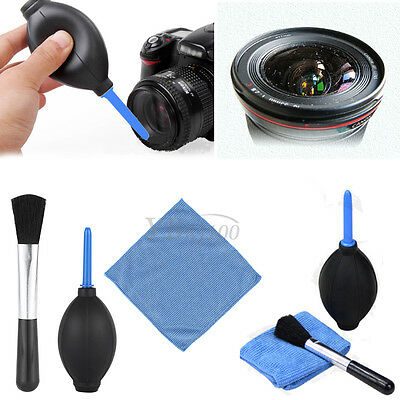 3 in 1 Lens Cleaning Cleaner Dust Brush Blower Cloth Kit For DSLR VCR Camera