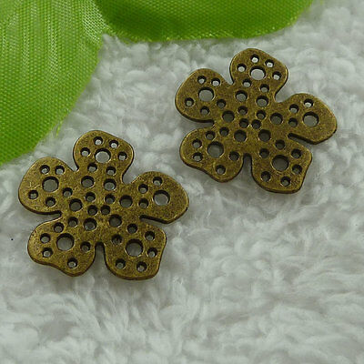 free ship 100 pcs bronze plated flower charms 23mm #2908