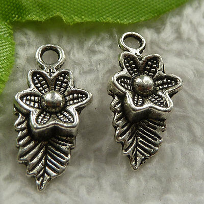 free ship 320 pieces tibet silver flower charms 22x11mm #4151