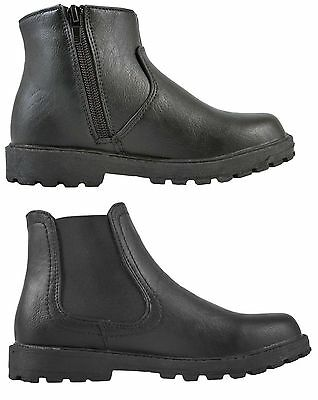Boys Black School Shoes Faux Leather Chelsea Ankle Boots Warm Winter Kids Size