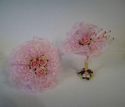 1/12Th Scale Handmade Millinery/bridal Shop Hat & Open Parasol, By Chrischell