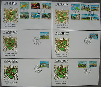 ALDERNEY 1983/93 ISLAND SCENES COMPLETE DEFINITIVE SET of 6 FIRST DAY COVERS