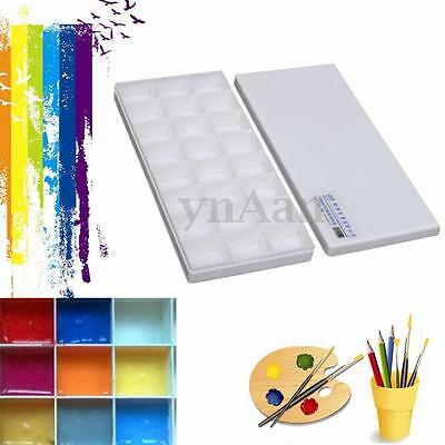 24 Well Watercolor Oil Case Box Acrylic Art Paint Mixing Palette Draw Tray Cover