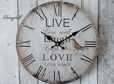LIVE* LAUGH* LOVE*  CHARMING RUSTIC EFFECT ROUND WALL CLOCK ~ 35cm