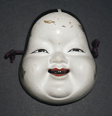 Antique Vintage Japanese Noh Carved Wood Hand Painted Miniature Doll Women Mask
