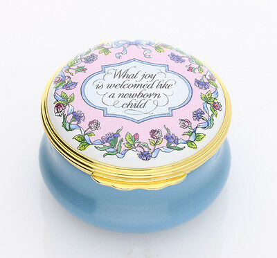 Halcyon Days Enamels Christening Blue Round Box - Brand New & Boxed