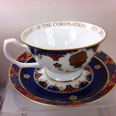 Royal Worcester boxed cup and saucer Coronation 60th anniversary QE11 ##MHA10JM