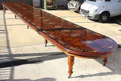 ITALIAN ANTIQUE STYLE DINING TABLE MARQUETRY WINDOUT INLAID EXTENDABLE 10 Meters