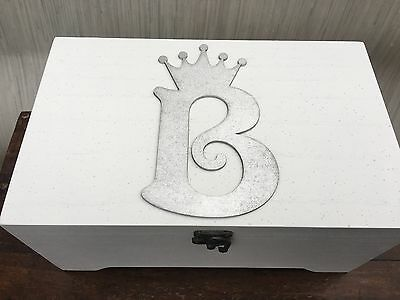 Beautiful Initial Crown Girls Large White Wooden Jewellery Box