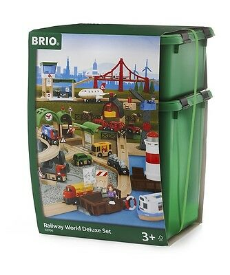 33766 BRIO Railway World Deluxe Set Classic Wooden Train Set with Lights & Sound