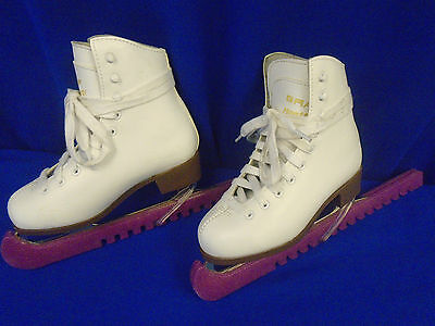 Girls white ice skates size EUR 31. UK 12.5 childrens with blade protectors