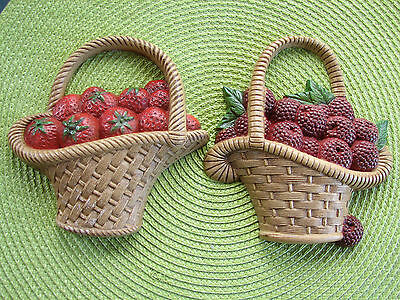 Burwood Products Strawberries Raspberries Baskets Wall Decorations 2722-1 2722-2