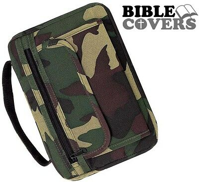 Camouflage Holy Bible Cover Camo Army Green Book Case Tote Bag Christian