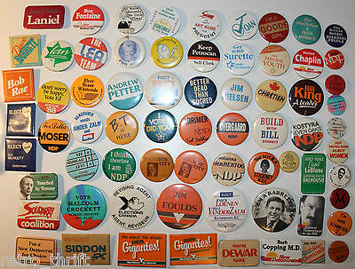 69 BC Election Canada Pins Pinback Buttons Liberals NDP Socred PC Socialists