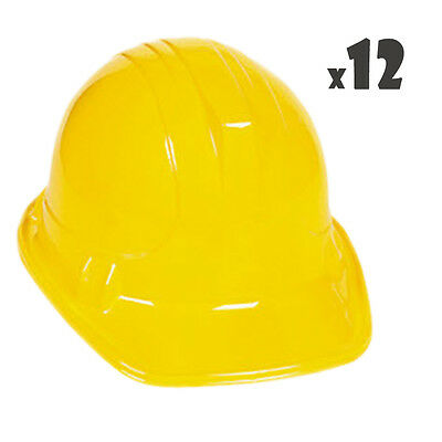 (12) Yellow Construction Work Hard Hats Party Nice Plastic Toys Fun Favor Goody