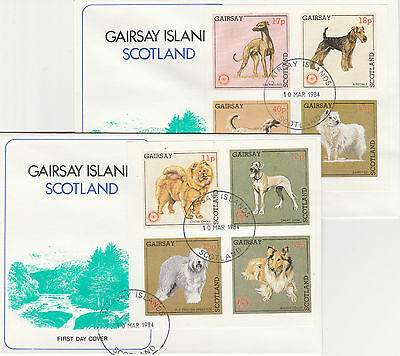 GB Locals - Gairsay (2341) Rotary - Dogs set of 8 on 2 First Day Covers