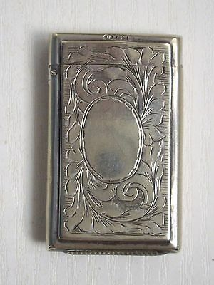 "ANTIQUE PLATED BRASS "" FLORAL DESIGN VESTA CASE with VACANT CARTOUCHE"