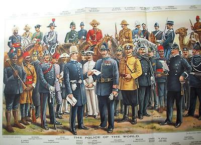 1913 POLICE UNIFORMS 11 x 17 ins : fold out magazine print from Boys Own