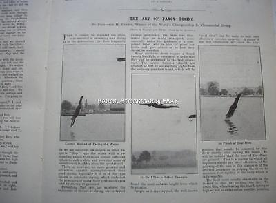 1907 HIGH DIVING different types of dives ::: vintage magazine article BO
