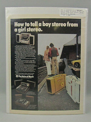 1970 Color Print Ad Voice of Music Stereo w/ Vagabonds