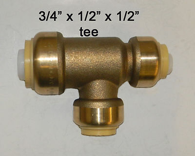 """2 SharkBite 3/4"""" 1/2"""" 1/2"""" Tee Quick Connect Brass Push Fitting Coupling"""