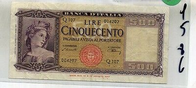 1947 Italy 500 Lire Currency Note Xf 4586C