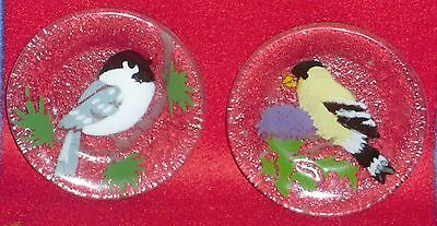 Vintage Clear Glass With Hand Painted Birds On Clear Glass Plates