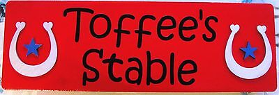 Red 3D Wood Stable Door Plaque Name Plate Sign * Personalised * Free Uk Post