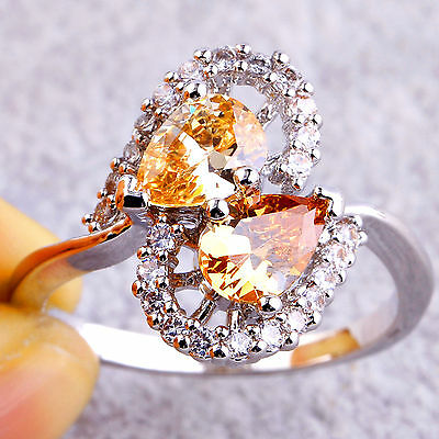 Cocktail Jewelry Water-Drop Morganite & White Topaz Gemstone Silver Ring Size 8