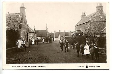 1900's RP PPC. FINDHORN HIGH STREET, LOOKING NORTH. A GATHERING OF CHILDREN.